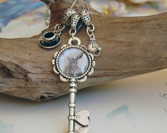 March Hare Charm Necklace Key Charm Alice in Wonderland Art Victorian Gothic Rabbit Key Necklace