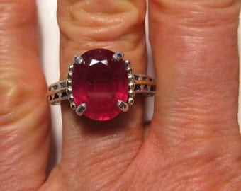 Natural Ruby Ring   .. Sterling Silver and 14 kt  .Victorian Antique Style . size 7 1/2 .. e842