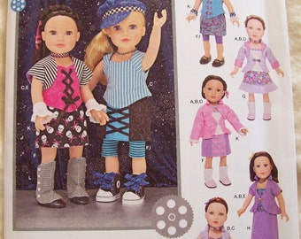 American Girl Doll Clothes Pattern, Simplicity 1087, 18 Inch Doll Clothes Pattern, Trendy Doll Clothes Pattern