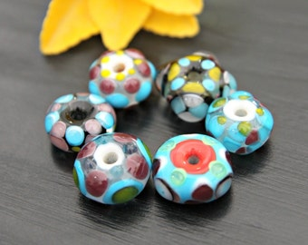 Handmade Artisan Lampwork Glass Bead Set Beading Supplies Purple Blue Dotted Beads Jewelry Supplies