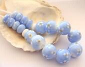 Enameled Light Blue Beads Handmade Lampwork
