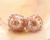 RESERVED - Silvered Hollow Pink Handmade Lampwork Sea Urchin Bead Pair