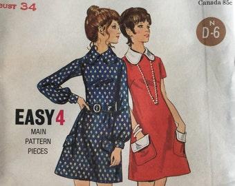 Vintage Butterick Pattern 5913, 1970's Mod Dress, A line Pattern Women's Dress, Size 12, Bust 34