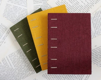 Small Autumn Tone Hardcover Notebook with Linen Covers  and Coptic Binding