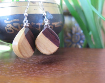 Kingwood Wood Drop Teardrop Earrings - Heart and Sapwood - Earthy and Unique Wooden Jewelry