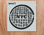 "NYC Manhole Stencil- Reusable Craft & DIY Stencils- S1_4P_15_S1 -Small-(5.75""x6"")- By Stencil1"