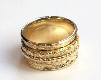 Spinner ring, meditation ring, filigree ring, Wide band,  Golden brass band, ring with spinners, Stacking rings - Morning bird RK1209E