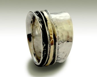 Wedding band, Silver band, unisex band, silver gold ring, spinner ring, meditation band, hammered silver ring - Stay on your mind R1026GB
