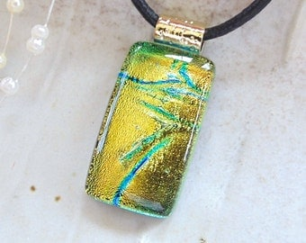 Petite, Gold Necklace, Green, Dichroic Pendant, Fused Glass Jewelry, Necklace, Necklace Included, A8