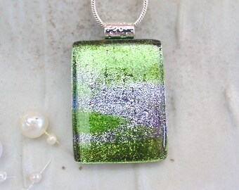 Green Necklace, Silver, Dichroic Pendant, Glass Pendant, Fused Glass Jewelry, Necklace Included, A6