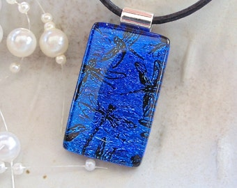 Blue Necklace, Dragonfly, Dichroic Pendant, Fused Glass Jewelry, Necklace Included, A3