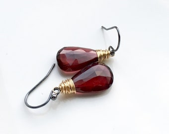 Faceted Red Garnet Gold and Oxidized Sterling Silver Dangle Mixed Metal Earrings