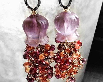 SALE - 40% Off - Mixed Metal Orange Sapphire Rhodolite Garnet Carved Amethyst Flower Chandalier Wire Wrapped Dangle Earring Pair