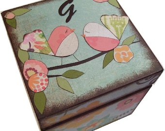 Keepsake, Treasure, Trinket, Box, Baby Shower Gift, Owl, Bird Decor, Baptism Gift, Decorative Box, Storage, Organization, MADE TO ORDER