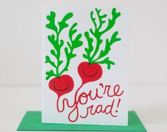 valentine card you're radish friend card