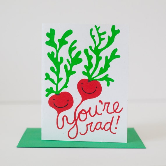 valentine card you're radish friend card