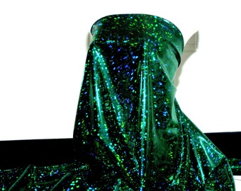 Shattered Glass Hologram Spandex Black/ Green  Fabric ...dance...cheer bows...gymnastics...costume..crafts...pageant