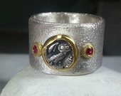 Statement Ring, Ancient Greek Owl coin ring , silver and yellow gold and ruby ring,  authentic coin, chunky silver and gold ring