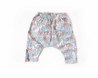 baby girl Liberty floral harem pants, Liberty of London trousers, toddler kids cotton harem pants, floral baby pants