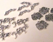 15 assorted charms angel wings, love hearts, and hope antiqued silver tone  new supplies for jewelry making & crafting