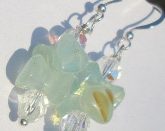 agate and crystal bead pierced dangle hand made wire wrapped affordable unique earrings