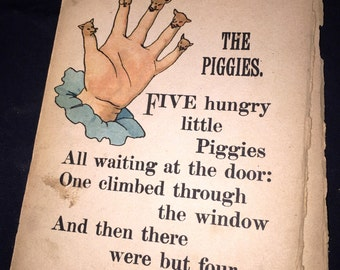 Little Piggies Finger Puppet Pages from Antique Book