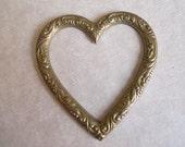 Vintage Oxidized Brass Heart Frame