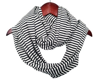 Antibacterial Lightweight Bamboo & Organic Cotton Striped Circle Scarf // Made in USA