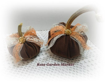 Brown Velour  2pc Pumpkin Set with Real Pumpkin Stem,Lace and Trims, Fall  Home Decor, ECS