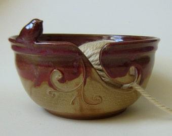 Knitting Bowl Yarn Bowl  purple and gold bird bowl