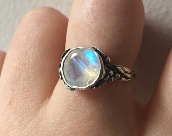Faceted Rainbow Moonstone and Sterling Woodland Vine Ring