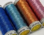 Pack of 4 Gutermann Metallic Threads Quilting Embroidery Thread Painting Oleander Cornflower Iris Copper Knitware thread