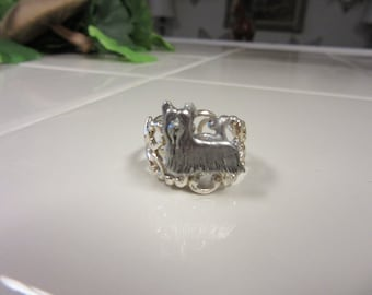 Very Sweet Sterling Silver Plated Filigree Yorkshire Terrier Ring-Very Limited Edition