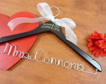 Engraved Name Hangers - Personalized Hangers - Bride Coat Hangers -  Bridal Accessories - Wedding Prop - Name Date Engraved - Walnut