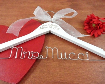 Engraved Names - Hanger with Date - Etsy Bridal - Keepsake - Hangers with Names - Clothes Hangers - Engraved Name Hanger - Custom Engraved