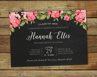 2017 graduation party invitation, floral graduation open house or graduation party invitation, class of 2017