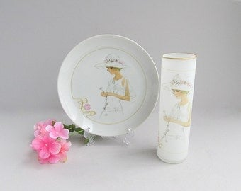 Vintage Shabby Cottage Chic Plate With Matching Glass or Vase
