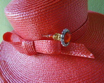 Orange Frank Olive Neiman Marcus Straw Hat Sun Derby Church Easter