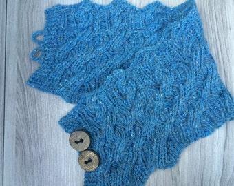 PDF knitting pattern, scarf, cowl, scarflette, reversible cables cowl, neckwarmer: Abutilon