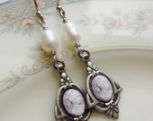 Sale- Lady Catherine in Lilac/Silver, Cameo Earrings with Freshwater Pearls