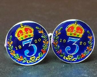 16mm UK British threepence silver coin cufflinks