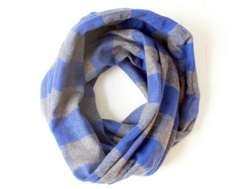Infinity Scarf - Plaid - Flannel - Oversized - Blue and Grey - Gray - Warm - Winter- Cozy - Unisex