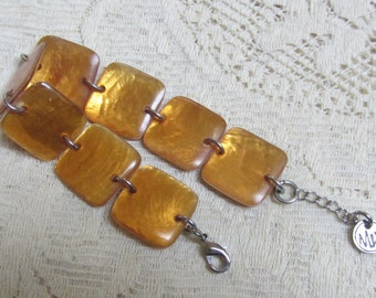 """Beautiful Butterscotch Bracelet of Hinged Rounded Squares by """"MIX"""" Jewelry Early 1990s Mint Conditon"""
