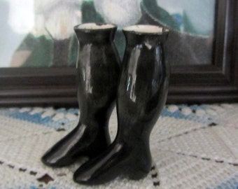 Vintage Porcelain China Glossy Black Victorian Doll Legs/Boots Early 1900s Excellent Condition Doll Making Collectible