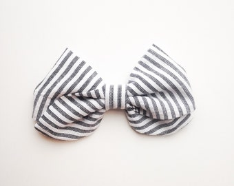 CLEARANCE - Charcoal Stripe Bow