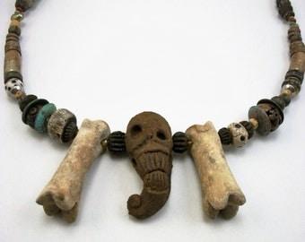 Magical Skull, Voodoo, Mummy, Animal bone, Shrunken Head,Bohemian Zombie Head Necklace