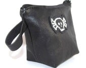Black Leather Skull Embroidery Coin Purse Zipper Bag Pouch
