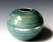 Ceramic Vase, Round Green Vase, Pottery Vase, Handmade Ceramics