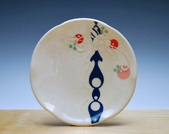 Small plate in Ivory w. Navy Arabesque mod stripe & Pink, red, and green Polka dots, Serving / dinnerware
