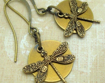 Dragonfly Earrings with Brass Discs in the Neo Victorian Jewelry Style